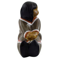 Vicke Lindstrand for Upsala-Ekeby, Ceramic Figure, Greenlandic Girl