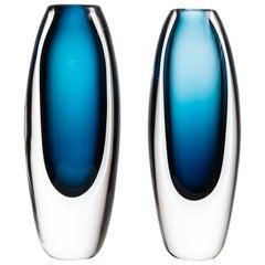 Vicke Lindstrand Glass Vases Produced by Kosta in Sweden