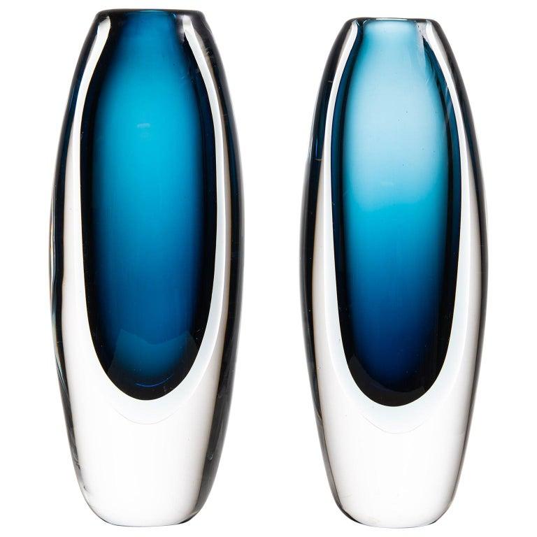 Vicke Lindstrand Glass Vases Produced by Kosta in Sweden For Sale