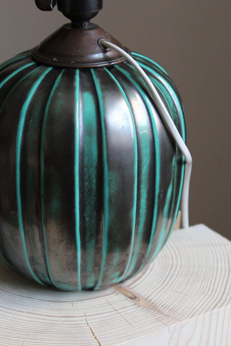 Swedish Vicke Lindstrand, Table Lamp, Brass Glazed Stoneware, Upsala-Ekeby, Sweden 1940s For Sale