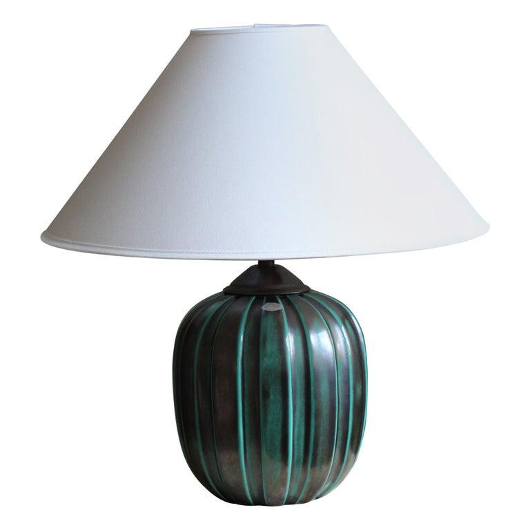 Vicke Lindstrand, Table Lamp, Brass Glazed Stoneware, Upsala-Ekeby, Sweden 1940s For Sale
