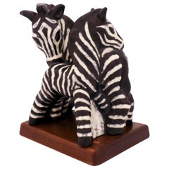 Vicke Lindstrand, Upsala Ekeby, Ceramic Sculpture, Two Zebras, 1950s