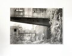 """Factory Courtyard"", photograph, black and white, platinum, palladium, landscape"