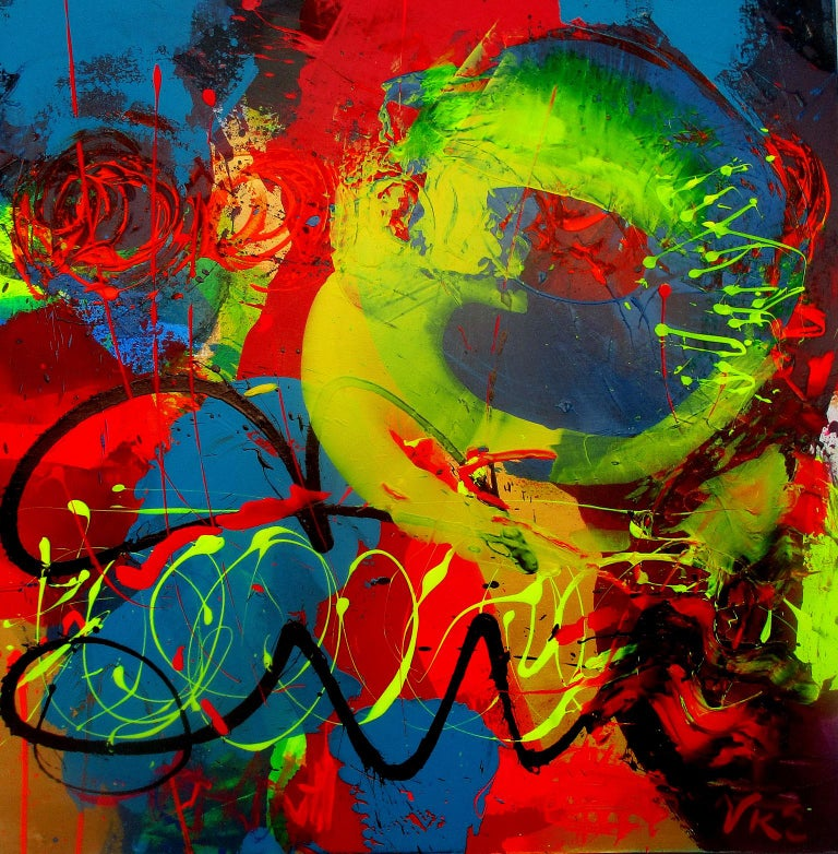 """Vicki Wilson Abstract Painting - Abstract Acrylic Painting on Canvas Titled """"At the Track"""""""