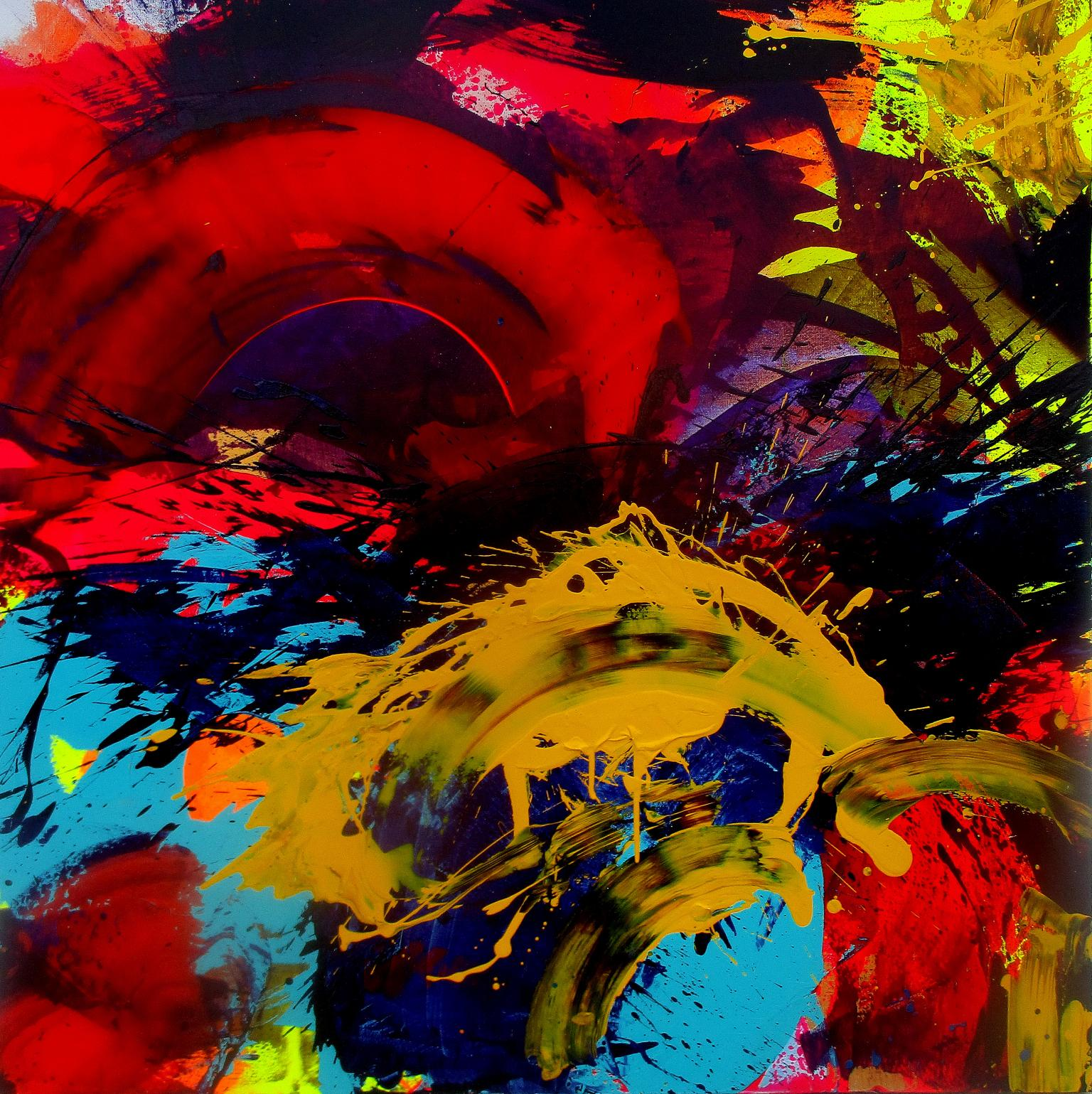 """Abstract Acrylic Painting on Canvas Titled """"Splash Down"""""""