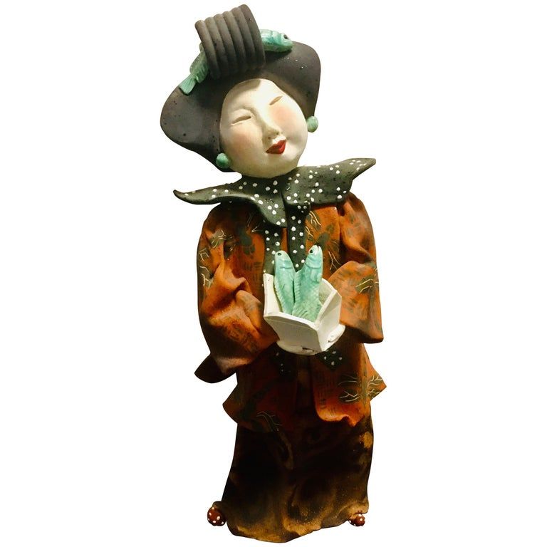 """Vicky Chock """"Chinese Lady Serving Fish"""" Modern Ceramic Sculpture For Sale"""