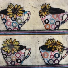 Cups in a row BY VICKY OLDFIELD, Still Life Print, Bright Art, Limited Edition