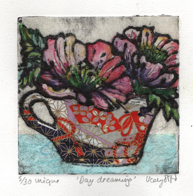 Vicky Oldfield Day Dreaming Limited Edition Collograph Print Edition of 30 Image Size: H 10cm x W 10cm Sheet Size: H 17.5cm x W 17.5cm x D 0.1cm Sold Unframed Please note that insitu images are purely an indication of how a piece may look.Day