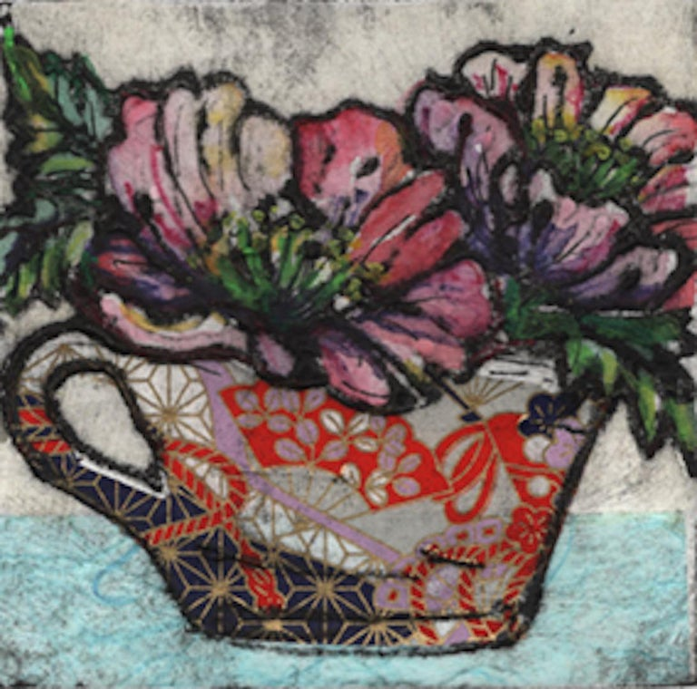 Vicky Oldfield Still-Life Print - Day Dreaming, Limited Edition Print, Collograph Print, Chine Colle