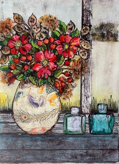 Golden Days BY VICKY OLDFIELD, Still Life Prints, Contemporary Floral Art