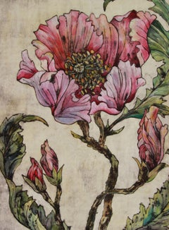 Look at me, limited edition pink and grey flower print, Collograph Flower Art