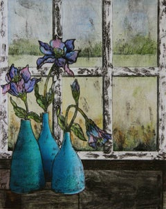 On my Windowsill BY VICKY OLDFIELD, Flower Art, Bright Art, Still Life Print