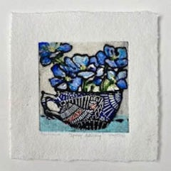 Spring Delicacies, Vicky Oldfield, Limited Edition Collograph Print, Floral Art