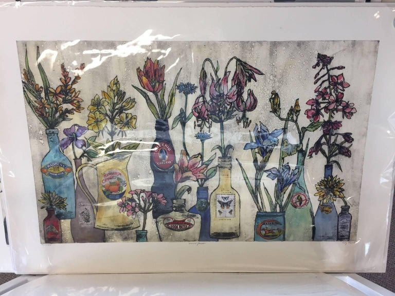 Summer Flowers, still life, floral art, limited edition print, Vicky Oldfield - Contemporary Print by Vicky Oldfield
