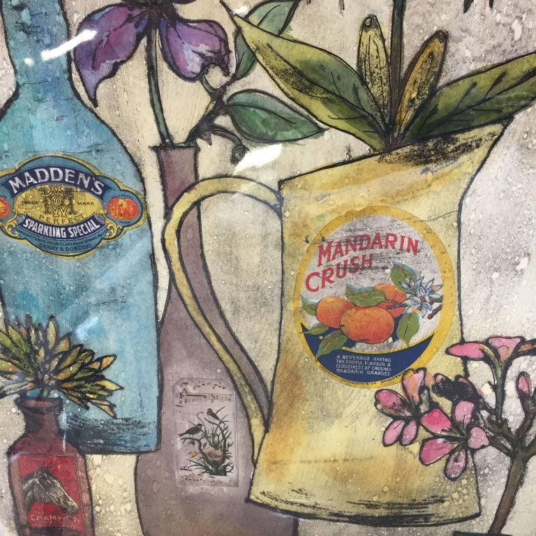 Summer Flowers, still life, floral art, limited edition print, Vicky Oldfield - Brown Print by Vicky Oldfield
