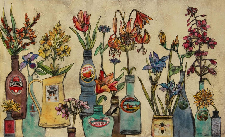 Summer Flowers, still life, floral art, limited edition print, Vicky Oldfield - Print by Vicky Oldfield