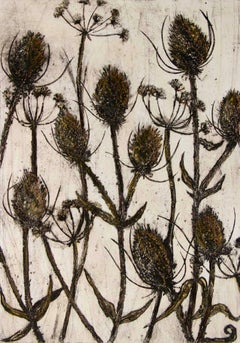 Vicky Oldfield, Autumn Gold, Limited Edition Collograph Print, Affordable Art