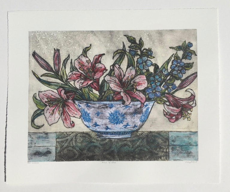 Vicky Oldfield, Bowl of Lilies, Collograph Print, Contemporary Still Life Print For Sale 1