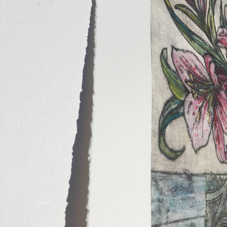 Vicky Oldfield, Bowl of Lilies, Collograph Print, Contemporary Still Life Print For Sale 2