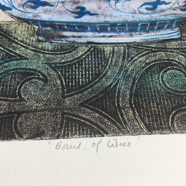 Vicky Oldfield, Bowl of Lilies, Collograph Print, Contemporary Still Life Print For Sale 4
