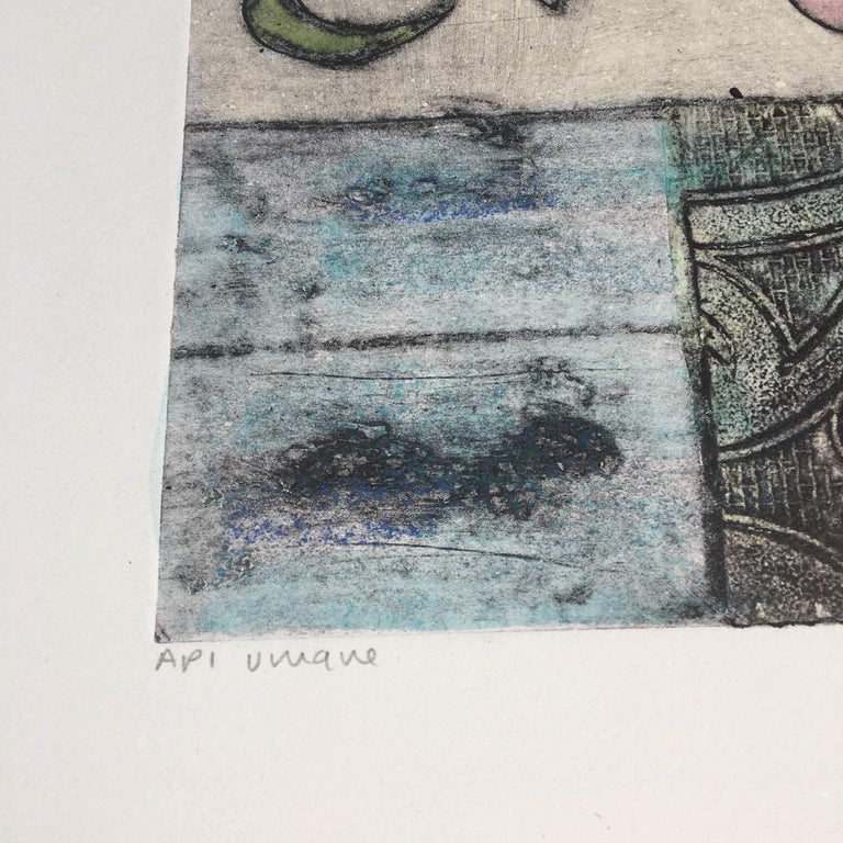 Vicky Oldfield, Bowl of Lilies, Collograph Print, Contemporary Still Life Print For Sale 5