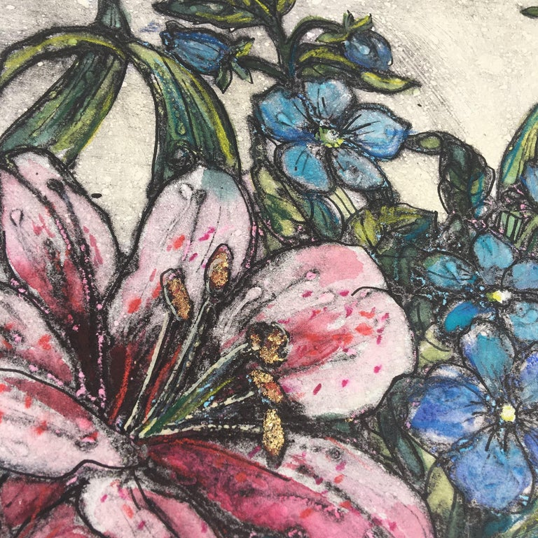 Vicky Oldfield, Bowl of Lilies, Collograph Print, Contemporary Still Life Print For Sale 7