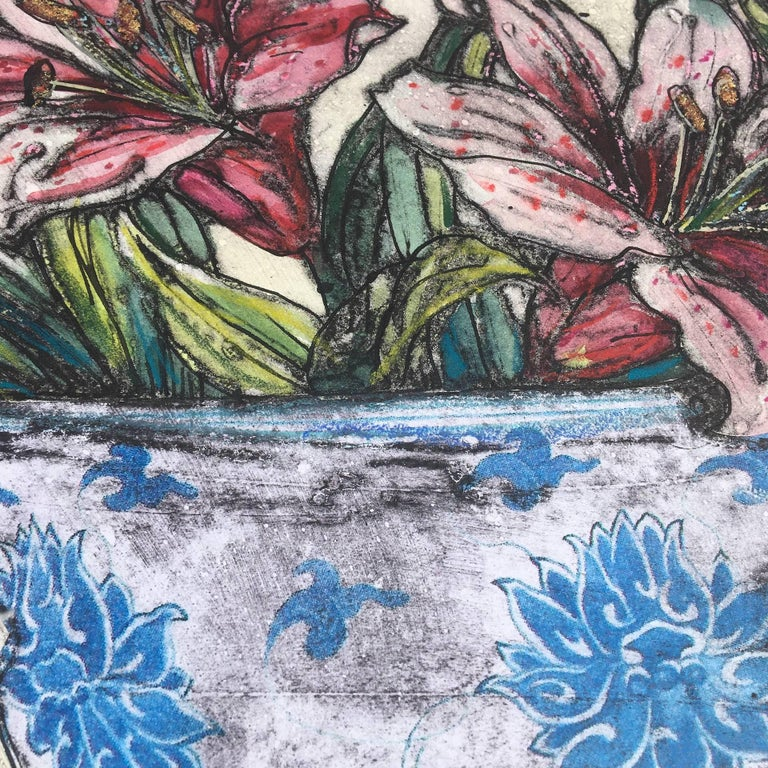 Vicky Oldfield, Bowl of Lilies, Collograph Print, Contemporary Still Life Print For Sale 8