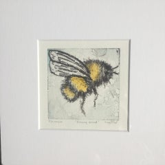 Vicky Oldfield, Buzzing Around, Animal Art, Contemporary Collograph Print