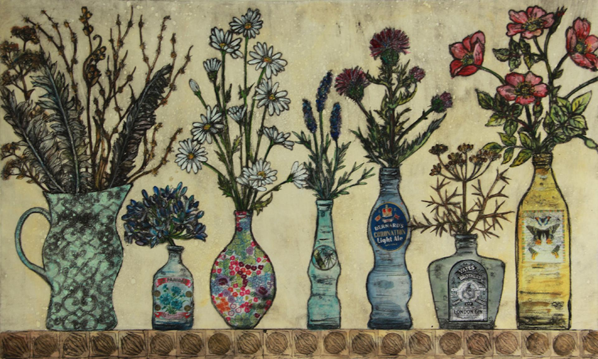 Vicky Oldfield, Feathers and Flowers, Still Life Art, Affordable Art, Art Online