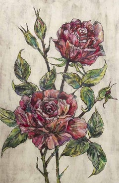 Vicky Oldfield, Garden Roses, Floral Art, Limited Edition Print, Affordable Art
