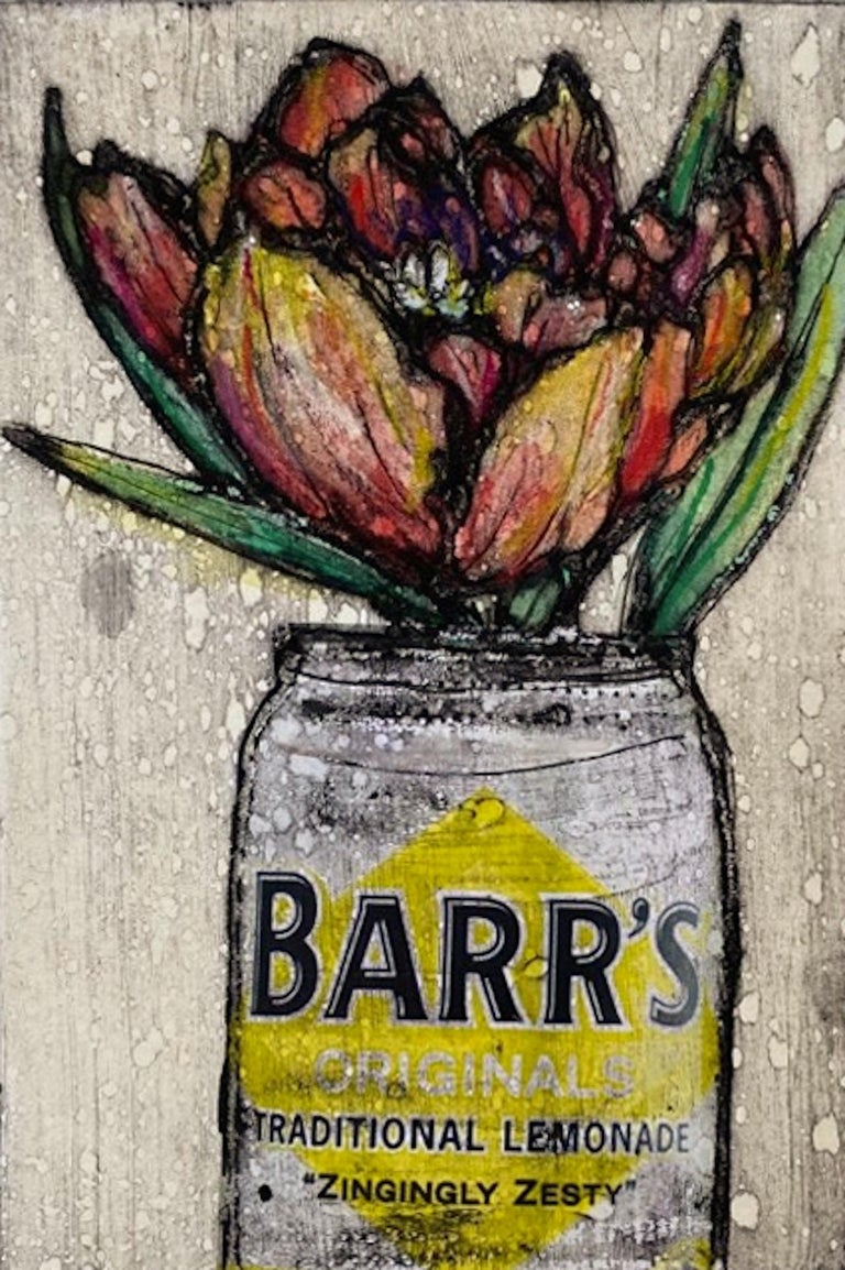 Vicky Oldfield, Tulip in a Tin, Limited Edition Collograph Print, Affordable Art - Brown Still-Life Print by Vicky Oldfield