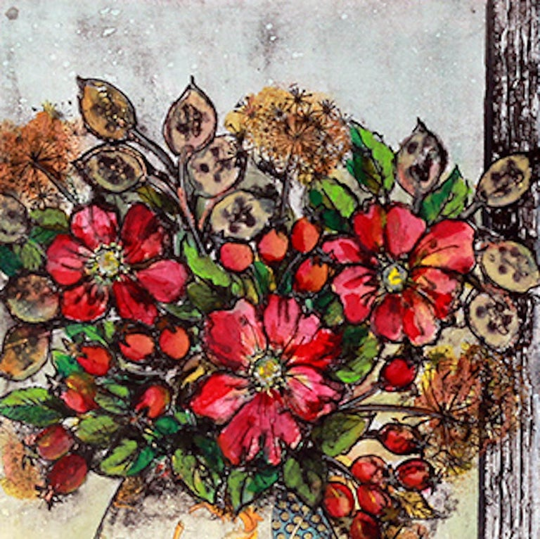 Vicky Oldifeld, Golden Days, Limited Edition Collograph Print, Still Life Art For Sale 1