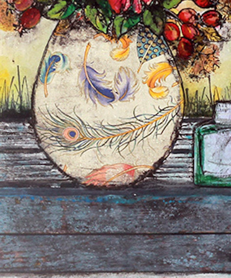 Vicky Oldfield Golden Days Limited Edition Still Life Print Edition of 30 Paper size: H 37.5cms x W 27.5cms x D 0.1cm Sold Unframed Please note that in situ images are purely an indication of how a piece may look.  Golden Days is a Limited edition