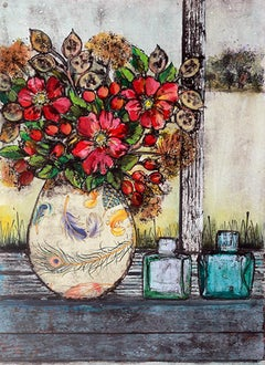 Vicky Oldifeld, Golden Days, Limited Edition Collograph Print, Still Life Art