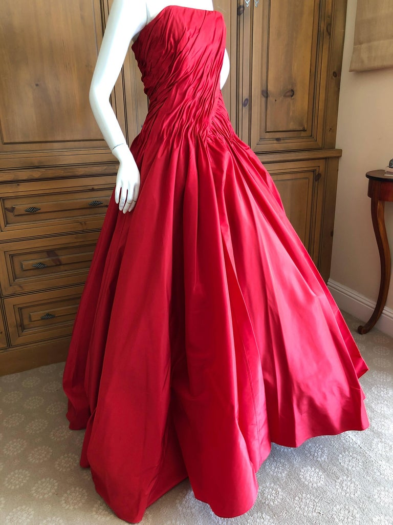 Pink Vicky Teil Couture Paris 70's Red Silk Ballgown w Four Petticoats and Shawl Wrap For Sale