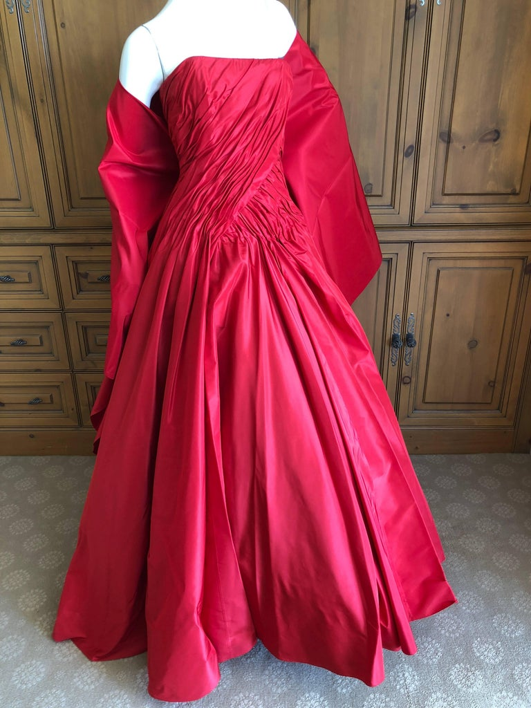 Vicky Teil Couture Paris 70's Red Silk Ballgown w Four Petticoats and Shawl Wrap In Excellent Condition For Sale In San Francisco, CA