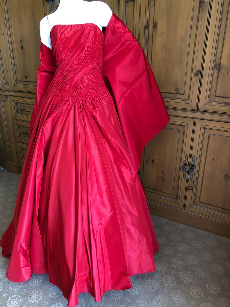 Women's Vicky Teil Couture Paris 70's Red Silk Ballgown w Four Petticoats and Shawl Wrap For Sale