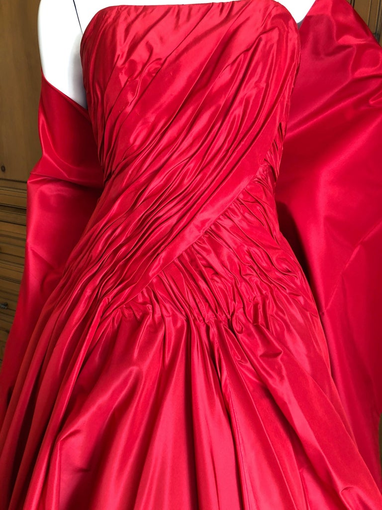 Vicky Teil Couture Paris 70's Red Silk Ballgown w Four Petticoats and Shawl Wrap For Sale 1