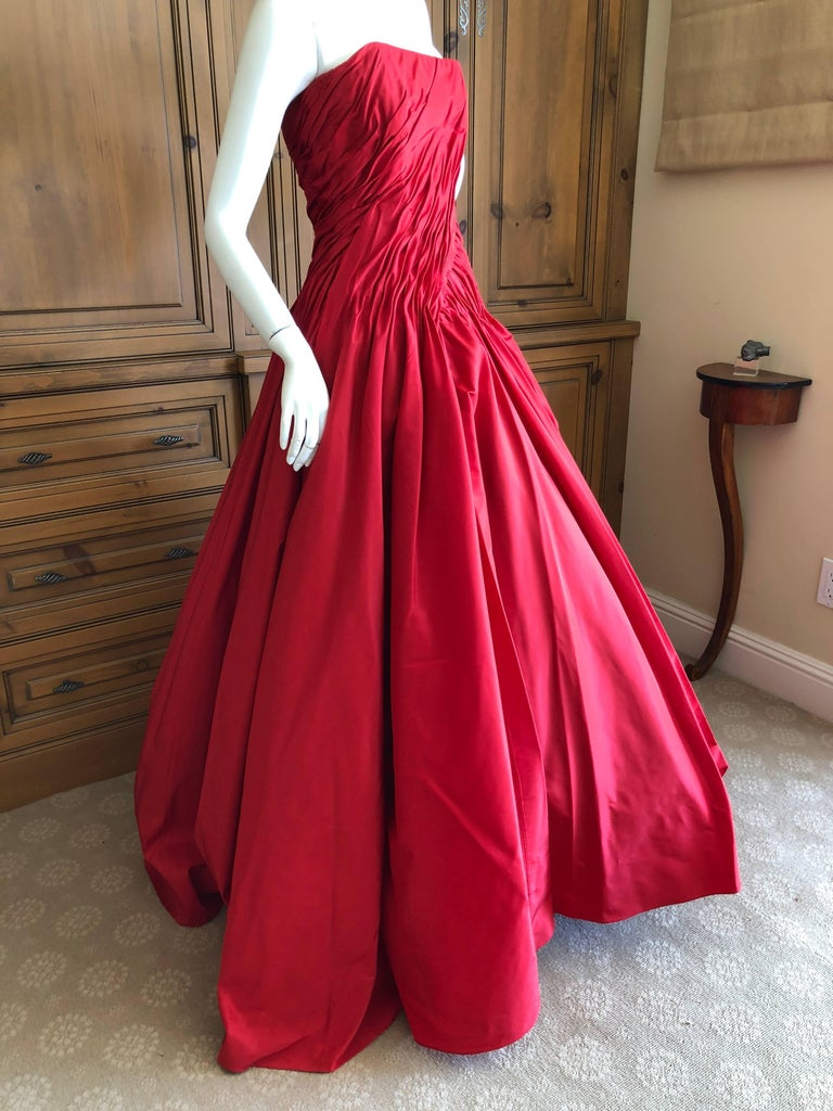 Vicky Teil Couture Paris 70's Red Silk Ballgown w Four Petticoats and Shawl Wrap For Sale 3