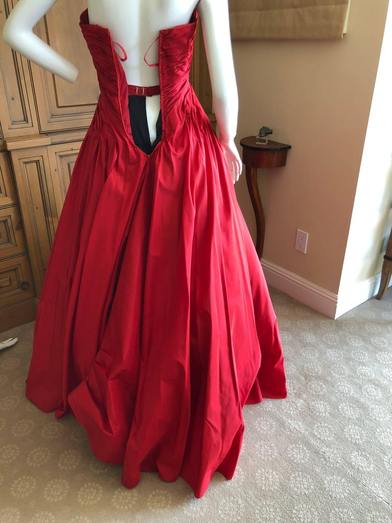 Vicky Teil Couture Paris 70's Red Silk Ballgown w Four Petticoats and Shawl Wrap For Sale 4