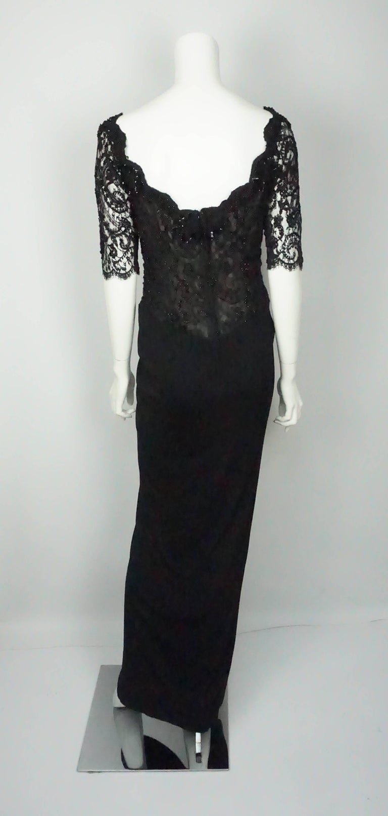Vicky Tiel Black Lace Beaded and Silk Off Shoulder Gown  In Excellent Condition For Sale In Palm Beach, FL