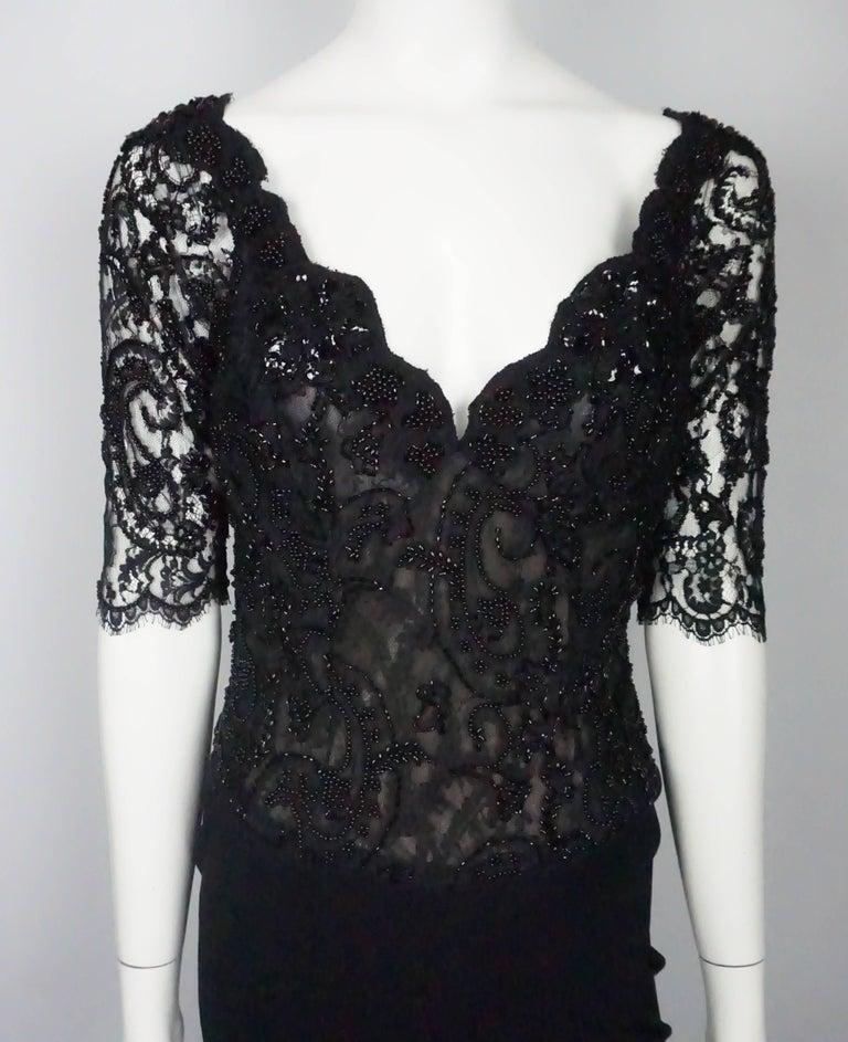 Women's Vicky Tiel Black Lace Beaded and Silk Off Shoulder Gown  For Sale