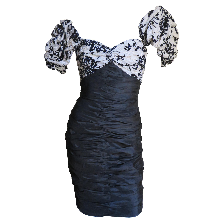 Vicky Tiel Couture Color Block Silk Dress