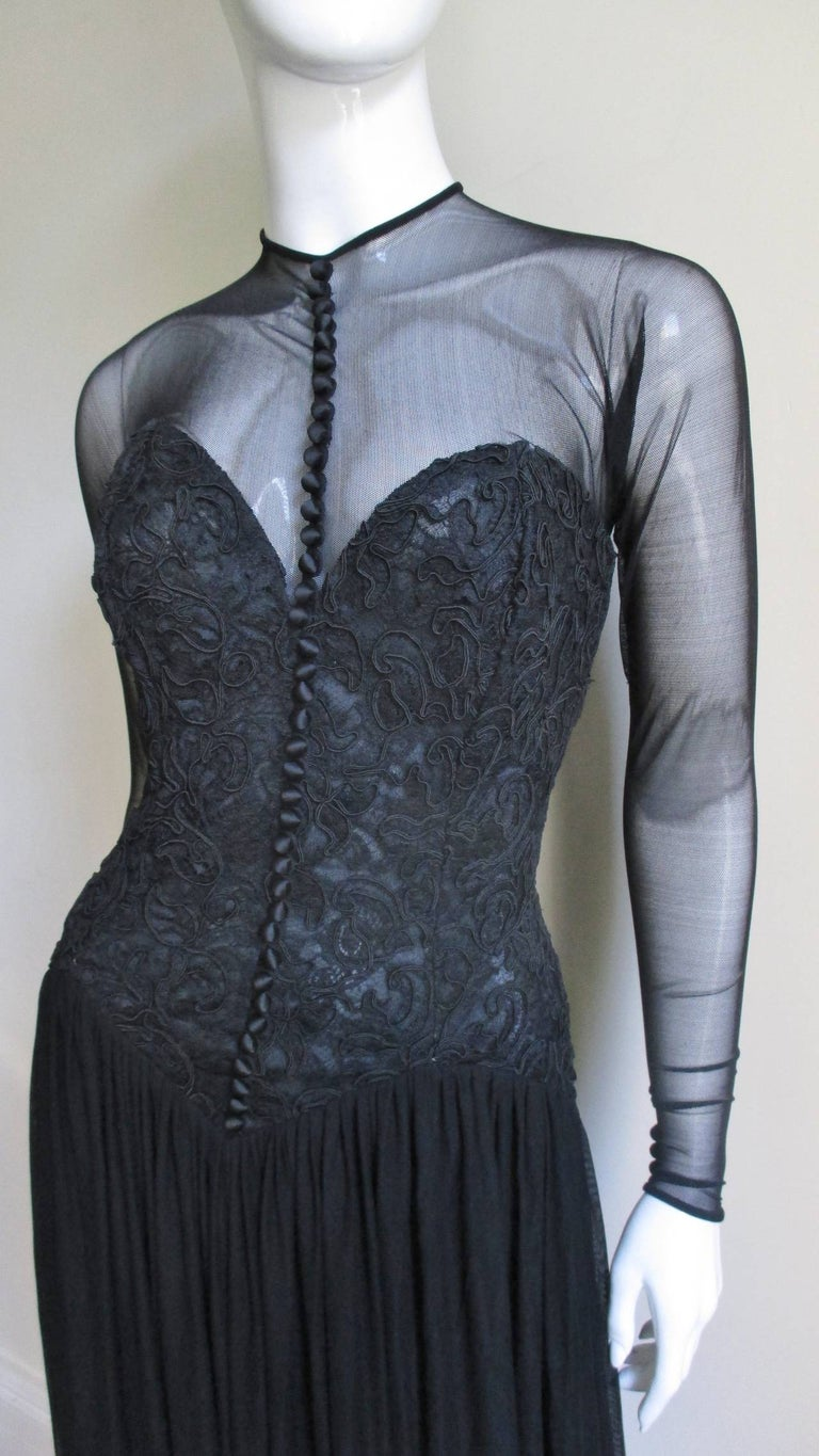 Black Vicky Tiel Couture Corset Dress Gown  For Sale