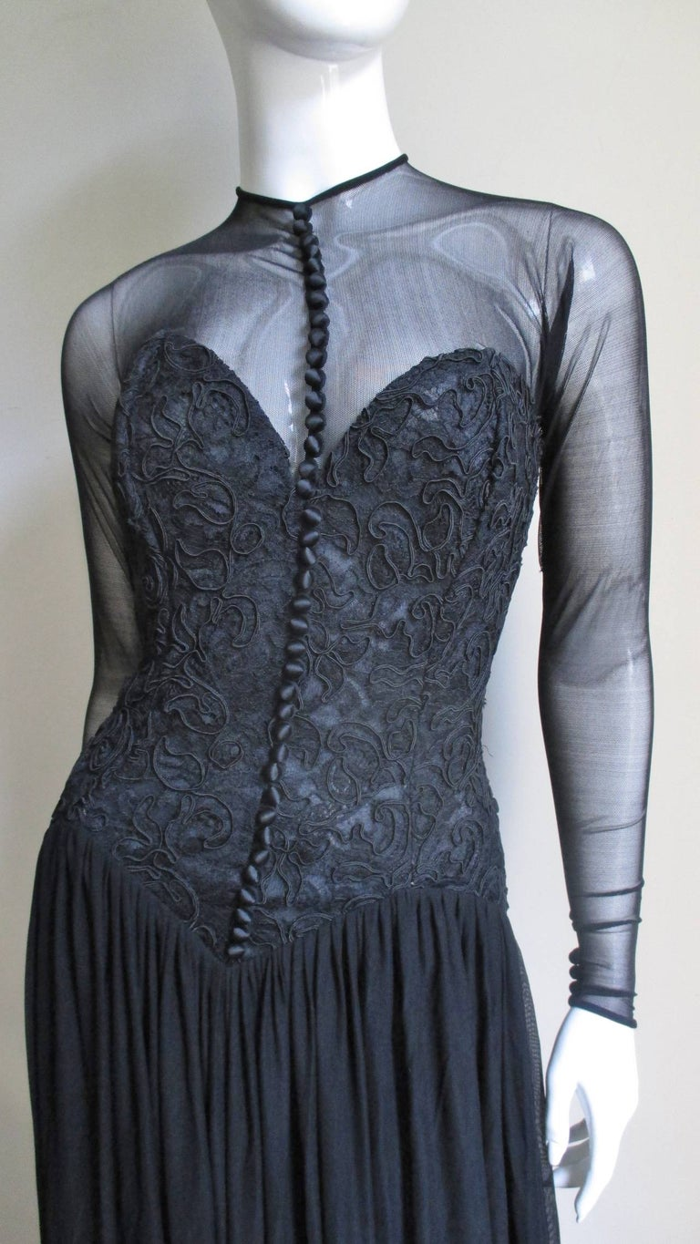 Vicky Tiel Couture Corset Dress Gown  In Excellent Condition For Sale In Water Mill, NY