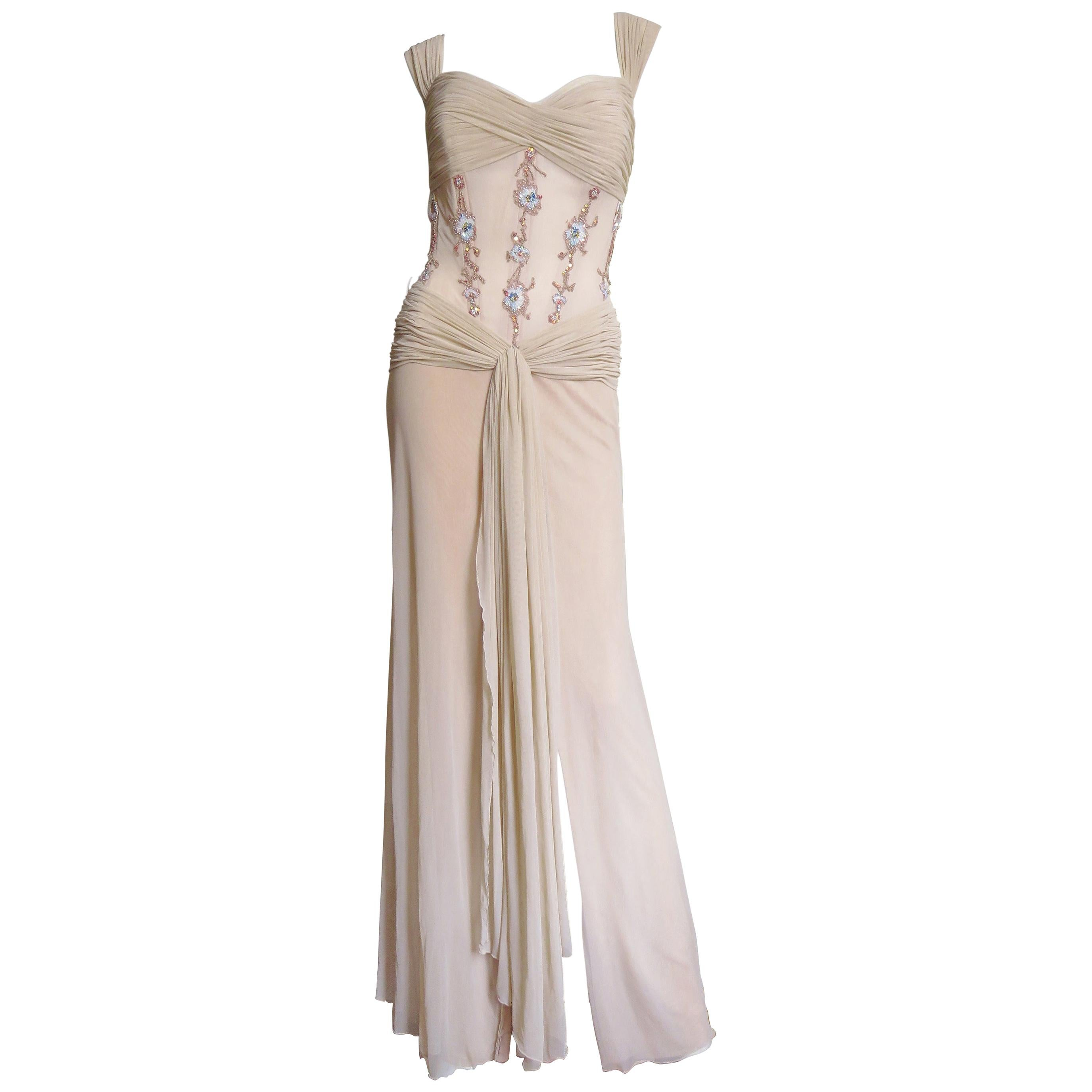 Vicky Tiel Couture Corset Gown and Shawl 1990s