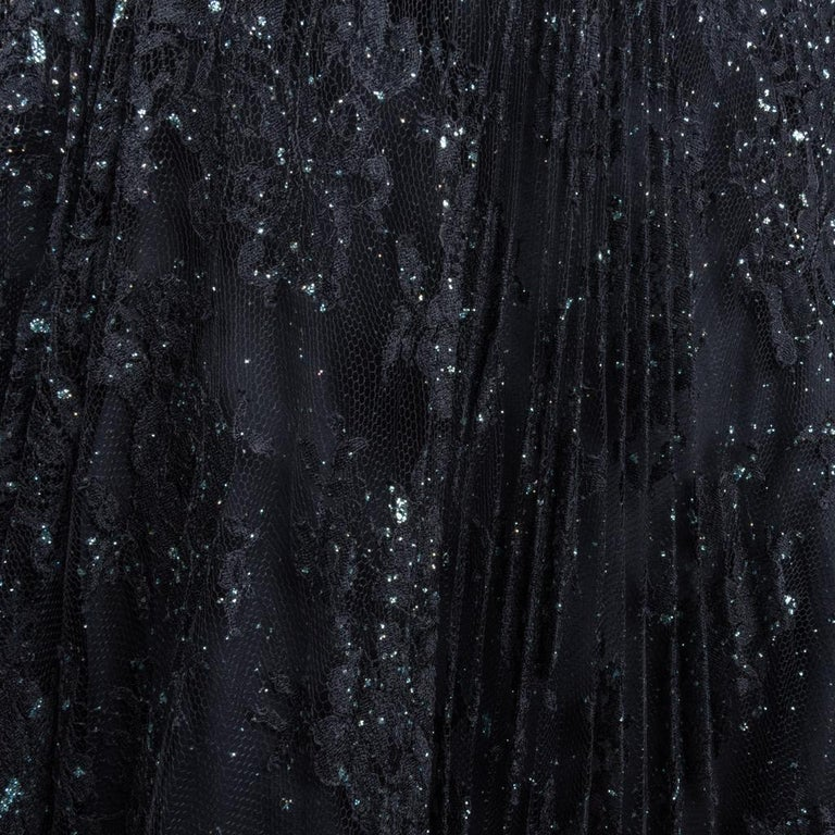 Women's Vicky Tiel Couture Gown Navy Lace Embellished Overlay Full Length FIts 8 to 10 For Sale