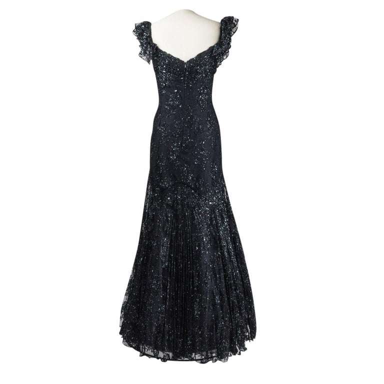Vicky Tiel Couture Gown Navy Lace Embellished Overlay Full Length FIts 8 to 10 For Sale 1