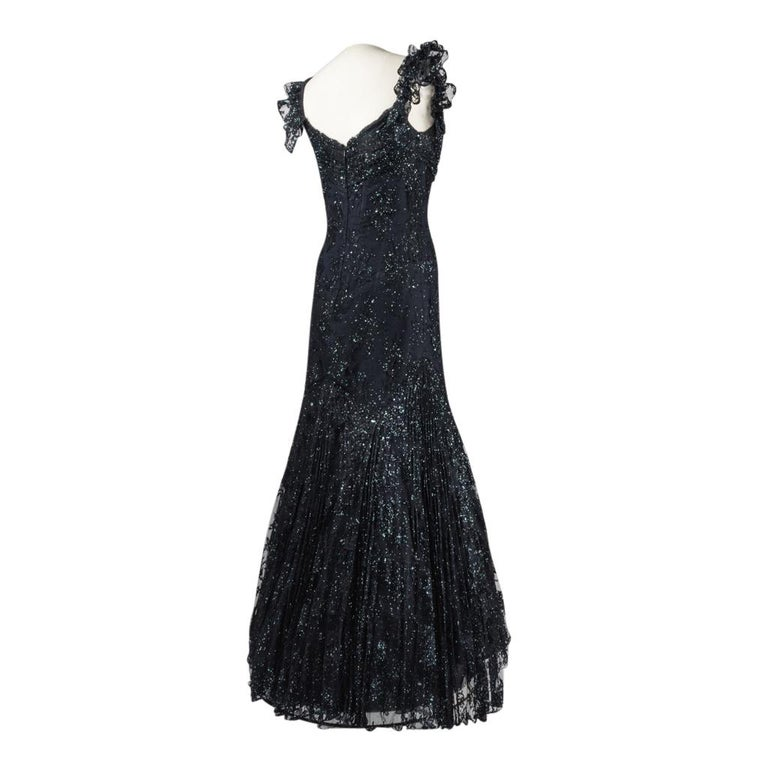 Vicky Tiel Couture Gown Navy Lace Embellished Overlay Full Length FIts 8 to 10 For Sale 2