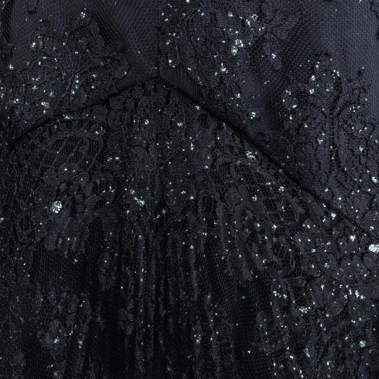 Vicky Tiel Couture Gown Navy Lace Embellished Overlay Full Length FIts 8 to 10 For Sale 3